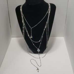 《Guess》NEW Silver Key Locket Necklace Sexy Strand
